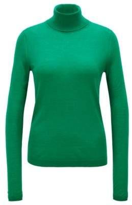 BOSS Hugo Slim-fit roll-neck sweater in mercerized virgin wool S Open Green