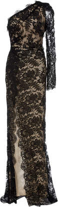 Monique Lhuillier One Shoulder Cotton-Blend Lace Gown
