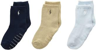 Polo Ralph Lauren Flat Knit Crew 3-Pack Men's Crew Cut Socks Shoes