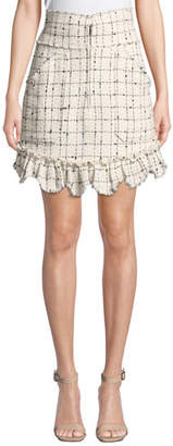 Rebecca Taylor Plaid Tweed Zip-Front Skirt