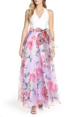 Eliza J Floral Chiffon Skirt Ballgown