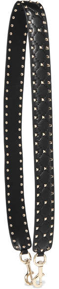 Valentino - The Rockstud Spike Matelassé Embellished Quilted Leather Bag Strap - Black