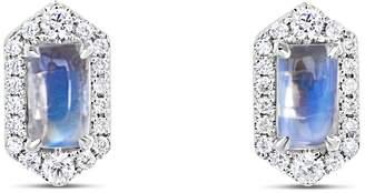 Ri Noor - Petite Hexagon Moonstone & Diamond Earrings