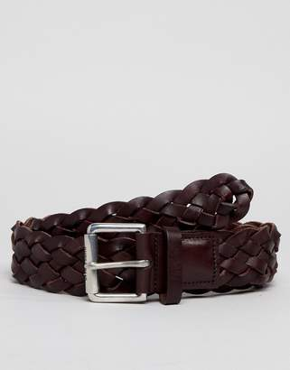 Paul Smith Leather Plait Belt In Brown