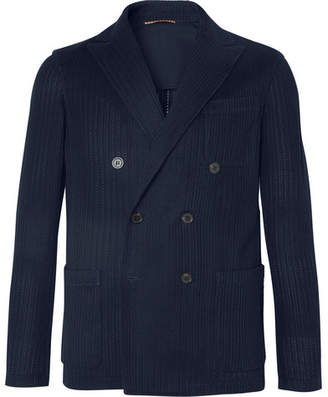 Altea Navy Double-Breasted Textured-Knit Cotton Blazer