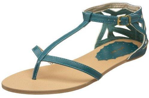 Miss Me Women's Emboss-2 Roman T Strap Flat Sandal