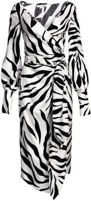 Oscar de la Renta Long Sleeve Zebra Wrap Dress
