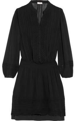 Joie Pima Crochet-Paneled Silk-Chiffon Mini Dress