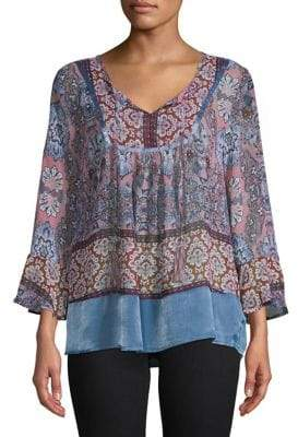 Style&Co. Style & Co. Printed Bell-Sleeve Peasant Blouse