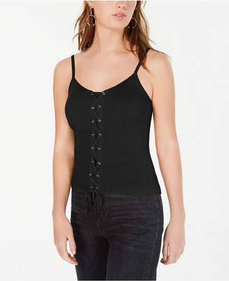 Hooked Up By Iot Juniors' Lace-Up Ribbed Sweater Tank Top