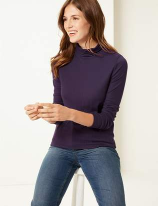 Marks and Spencer Textured Polo Neck Long Sleeve Top