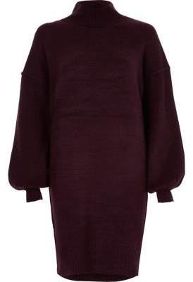 River Island Womens Purple balloon sleeve high neck sweater dress