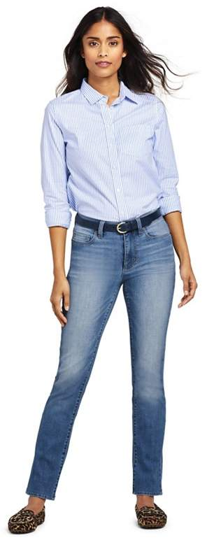 Blue Petite Mid Rise Straight Leg Indigo Jeans