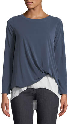 Couture Casual Knot-Front Long-Sleeve Tee