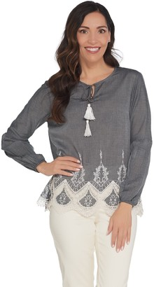 Du Jour Woven Top with Lace Applique and Tassles