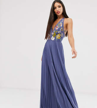 Asos Design DESIGN Tall halter maxi dress with pleated skirt and embroidery