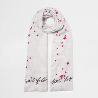 River Island Womens Grey 'don't follow me' embroidered scarf