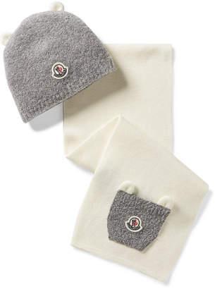 Moncler Size Xxxs - Xs Appliquéd Wool-blend Beanie And Scarf Set
