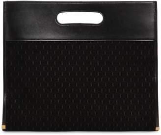 Saint Laurent Leather & Logo Debossed Suede Tote Bag
