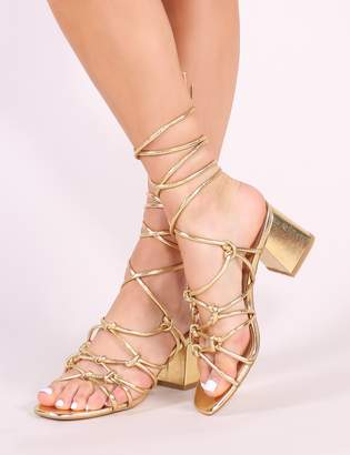 b339f693d77 Public Desire Freya Knotted Strappy Block Heeled Sandals