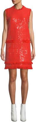 MSGM Sleeveless Sequin Crewneck Short Dress