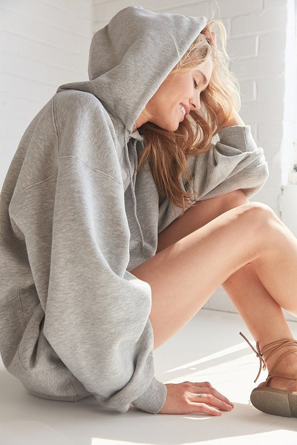 Silence + Noise Shirred Sleeve Hoodie Sweatshirt Dress