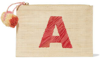 Alphabet Embroidered Woven Straw Pouch - Beige