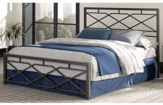 Leggett & Platt Alpine Metal SNAP Bed with Folding Frame Bedding Support System and Geometric Panel Design, Rustic Pewter Finish, Queen
