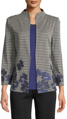 Misook Houndstooth Floral-Embroidered Jacket, Plus Size