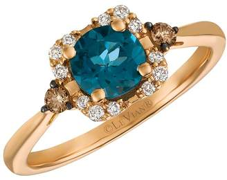 Chocolate By Petite Le Vian 14ct Strawberry Gold Deep Sea Blue Topaz And Diamond Ring