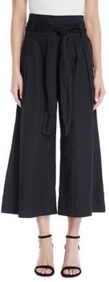 Fuzzi Wide-Leg Belted Poplin Pants