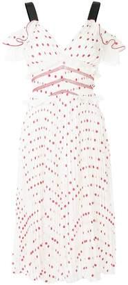 Self-Portrait pleated polka dot dress