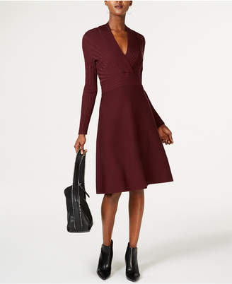 INC International Concepts I.N.C. Surplice Fit & Flare Sweater Dress, Created for Macy's