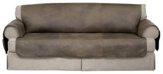 Serta Faux Leather Furniture Protector With Neverwet Sofa Slipcover Fawn