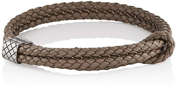 Bottega Veneta Men's Sterling Silver & Intrecciato Leather Bracelet
