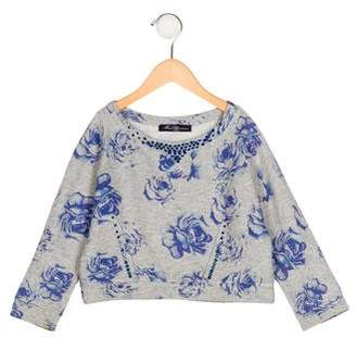 Miss Blumarine Girls' Embellished Floral Print Sweater