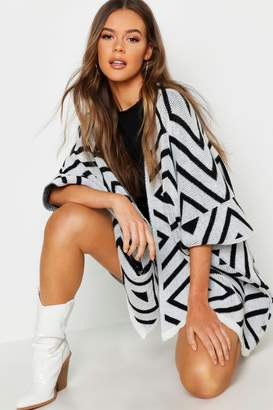 boohoo Aztec Cape Knitted Cardigan