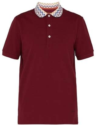 Missoni Zigzag Collar Cotton Pique Polo Shirt - Mens - Burgundy