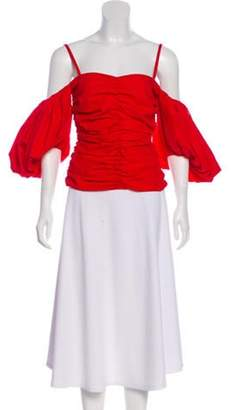 Isa Arfen Off-the-Shoulder Sweetheart Neck Top w/ Tags Red Off-the-Shoulder Sweetheart Neck Top w/ Tags