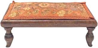 One Kings Lane Vintage Antique Floral Needlepoint Footstool - Vermilion Designs