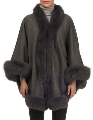 Gorski Cashmere Capelet with Fox Fur