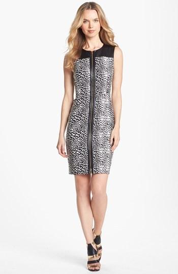 Vince Camuto Faux Leather Detail Print Zip Front Dress (Petite)