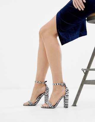Glamorous Zebra print block heeled sandals