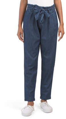 Lightweight Denim Paper Bag Waist Ankle Jeans