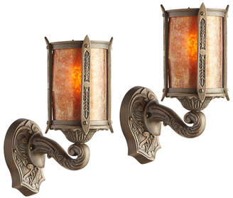 Rejuvenation Pair of Bronze Revival-Style Entry Sconces w/ Mica Shades