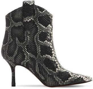 70mm Python Print Leather Boots