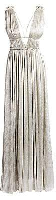 Jonathan Simkhai Women's Plissé Lamé Open Back Maxi Dress