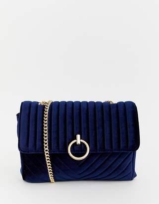 New Look velvet chain shoulder bag in blue