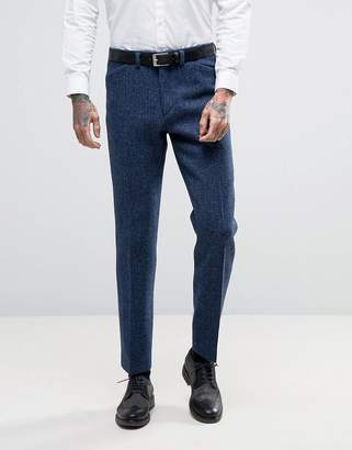 Asos Wedding Slim Suit Pants In Harris Tweed Check In 100% Wool