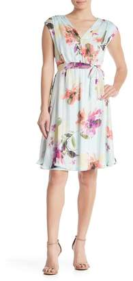 London Times Button Front Shirred Fit & Flare Dress